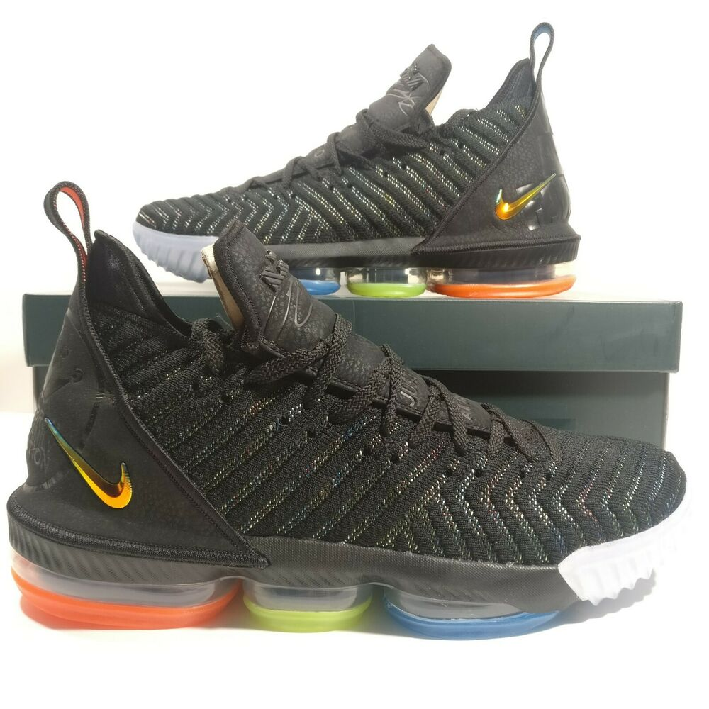 65cd39a8ab2 Details about Mens Nike Lebron 16 I Promise Black Metallic Silver Shoes  AO2588-004 Multi Size