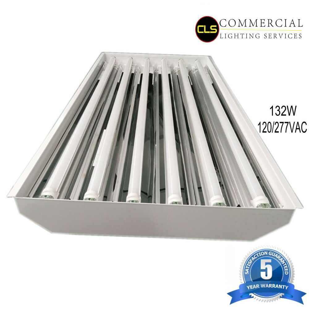 Details about t8 led high bay warehouse shop commercial light 6 lamp fixture usa made bright