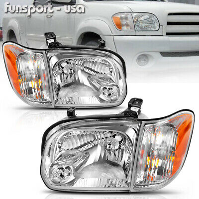 for 2005 2006 Toyota Tundra 05-07 Sequoia Chrome Headlights Headlamps Left+Right