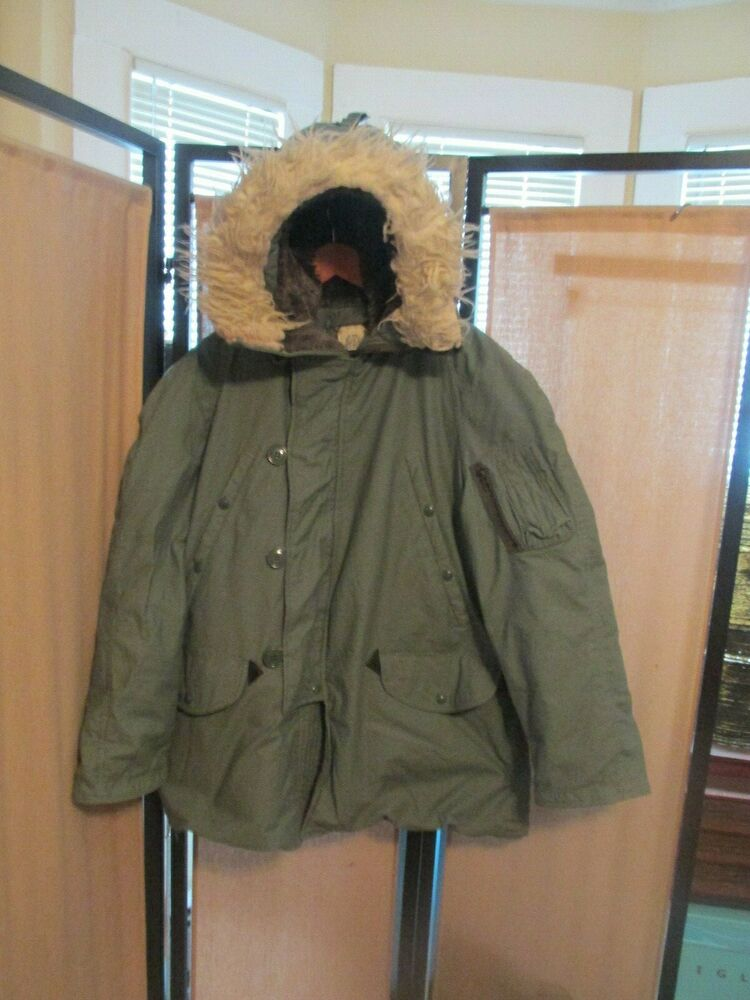 17ab9794d44 Details about Men s Military Parka N-38 Extreme Cold Weather Jacket sz M  HOODED