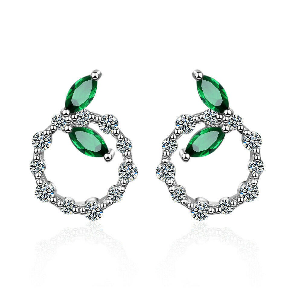 9ff4422a7 Details about 925 Sterling Silver Elegant Green CZ Cubic Zirconia Leaf Round  Stud Earrings
