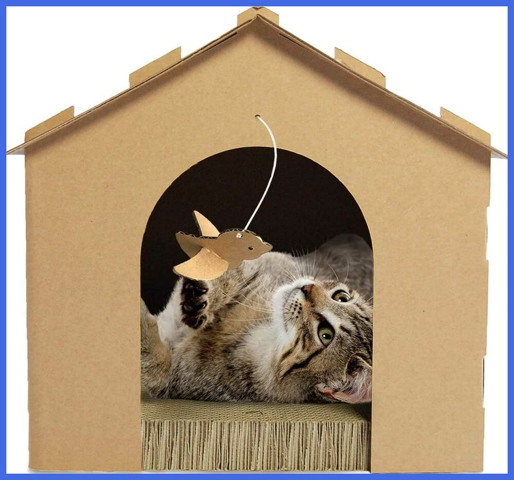 Details About Cat Scratcher Gingerbread House Corrugated W Catnip Cardboard Brown One Size
