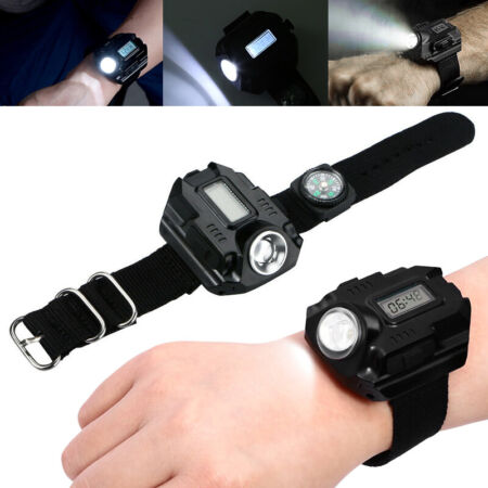 img-Tactical USB Rechargeable LED Display Wrist Watch Flashlight Torch Lamp Light UK
