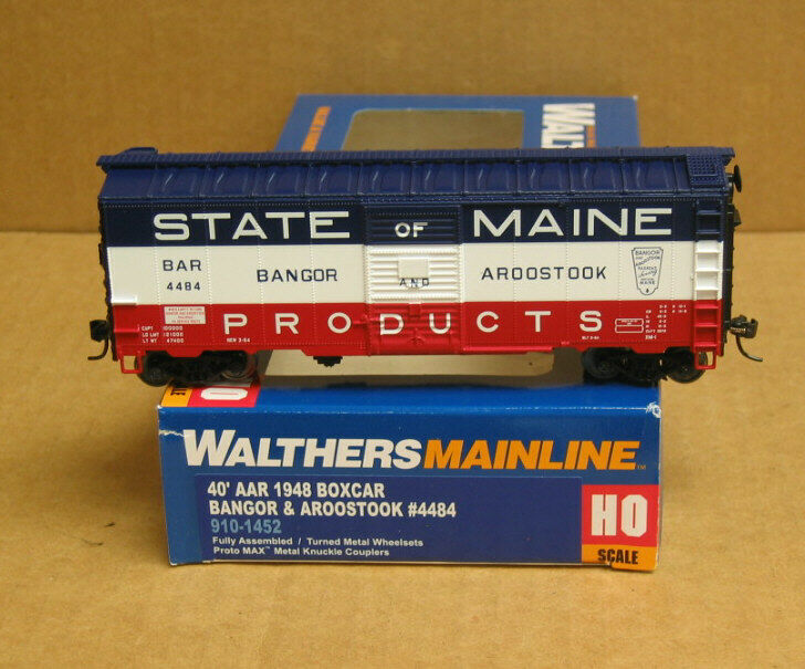 Walthers HO Scale 40/' AAR 1948 Boxcar Bangor Aroostook//B/&A//State of Maine #4035