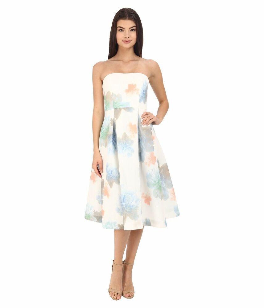bed08135fde Details about Calvin Klein Size 2 Cocktail Strapless Floral Printed Midi  Dress