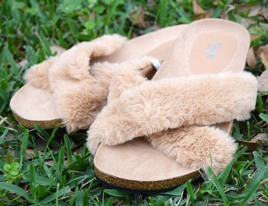 3c73b98acd1100 Mossimo Supply Co. Women s Bella Tan Faux Fur Crossband Sandal Sizes 8-11