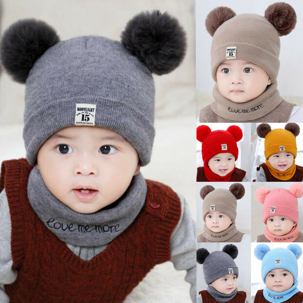 38fcf699ebb49 Details about Toddler Kids Girls Boys Baby Infant Winter Warm Knitted Hat  Beanie Cap Scarf Set