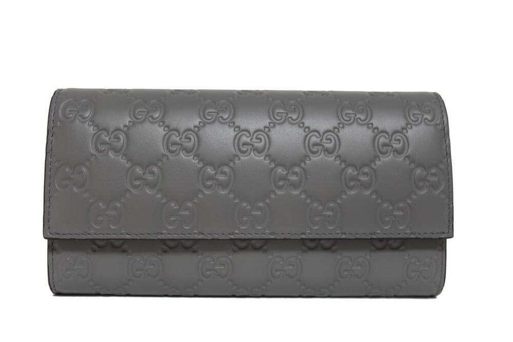 66136f5415bc Details about New Gucci GG Signature Continental Grey Leather Wallet Clutch  Bag