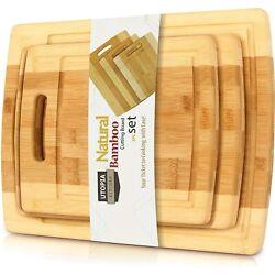 Kyпить Bamboo Cutting Boards for Kitchen Set of 3 Chopping Boards by Utopia Kitchen на еВаy.соm