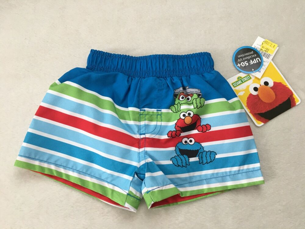 16b798482b Details about Sesame Street Boys Swimming Trunks Shorts/ 3-6 Months/ Oscar  Elmo Cookie Monster