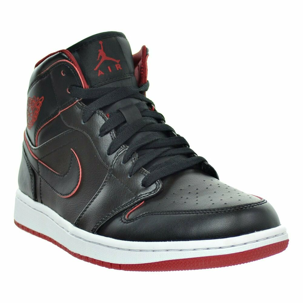 on sale 141f2 dd2ca Details about AIR JORDAN 1 MID Mens Black Black-White-Gym Red 554724-028  Basketball Shoes