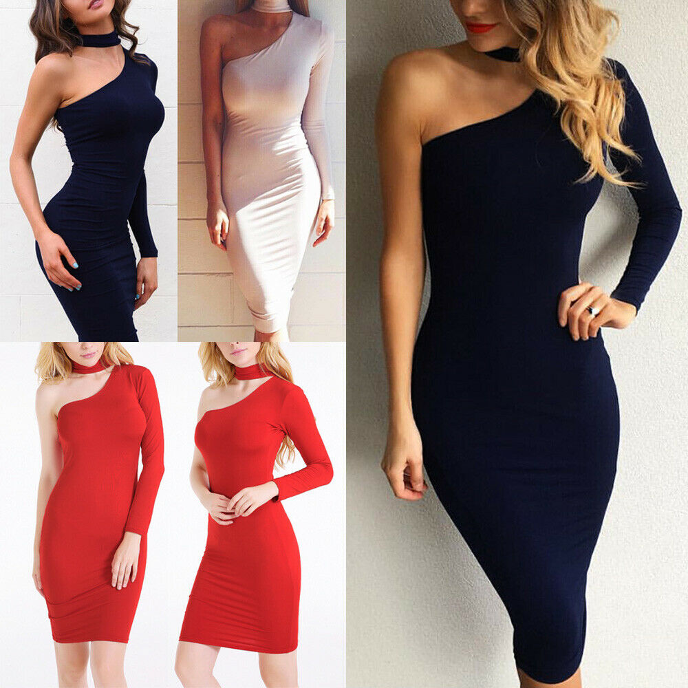 4a1e120fe11 Details about Women Sexy Bodycon One Shoulder Midi Dress Evening Party  Cocktail Club Dresses