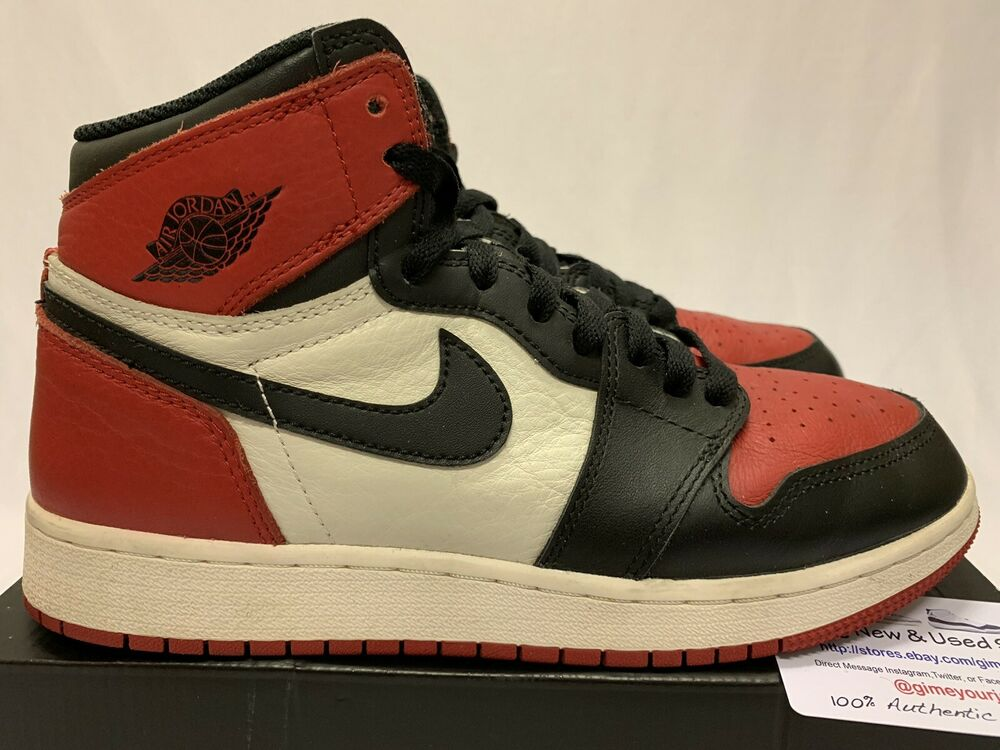 01da3ded26cb0b Details about Air Jordan 1 Retro High OG BG Bred Toe Size 6.5y Black  Varsity Red 575441-610