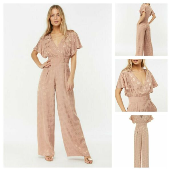 NEW £99 MONSOON JOURDAN JACQUARD JUMPSUIT NUDE WIDE LEG PARTY OCCASION SZ 8 - 18