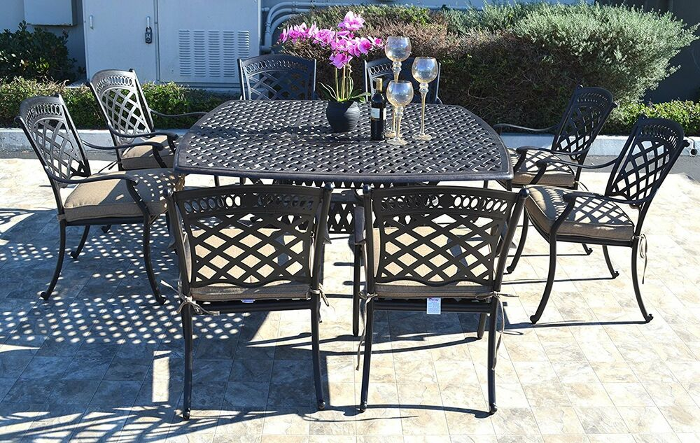 Details About Cast Aluminum Patio Dining Set 9pc Outdoor Furniture Square Nau Table 8 Chair
