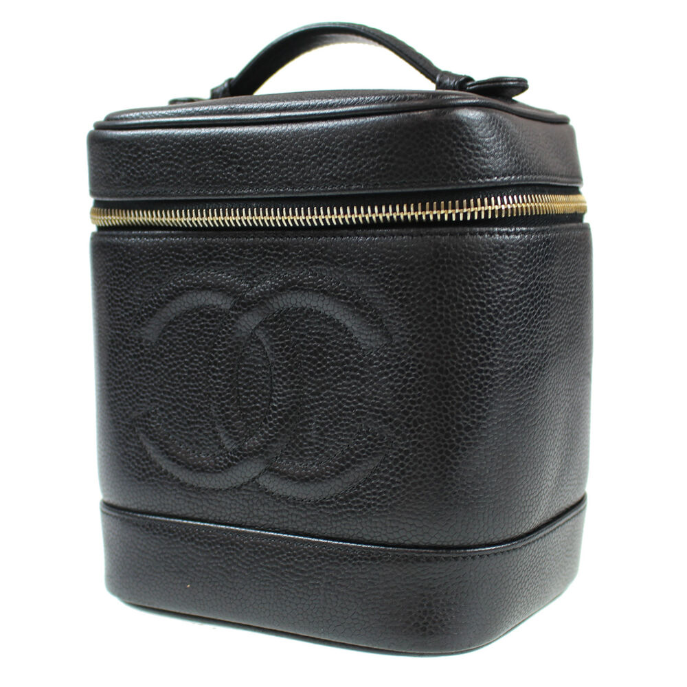 a760615014fc Details about CHANEL CC Vanity Cosmetic Bag Caviar Skin Black Leather  Vintage Auth  L708 W