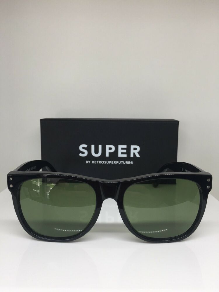 9e17138e259a Details about Retrosuperfuture Classic Basic SUPER Sunglasses M. G8R/2T  Black With Green Lens