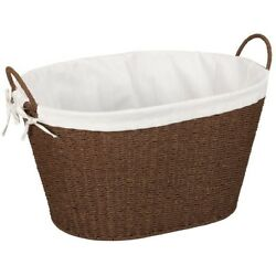 Laundry Basket Hand-Woven Wicker Single-Load in Brown/White with Washable Liner