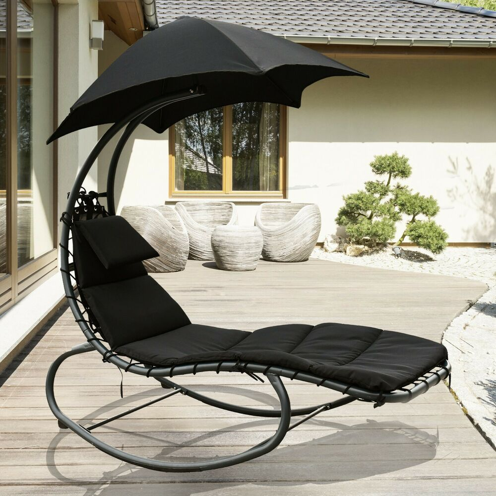 Swing Helicopter Sun Lounger Rocking Chair Seat Sun Outdoor W Umbrella W Cushion 5060530409648