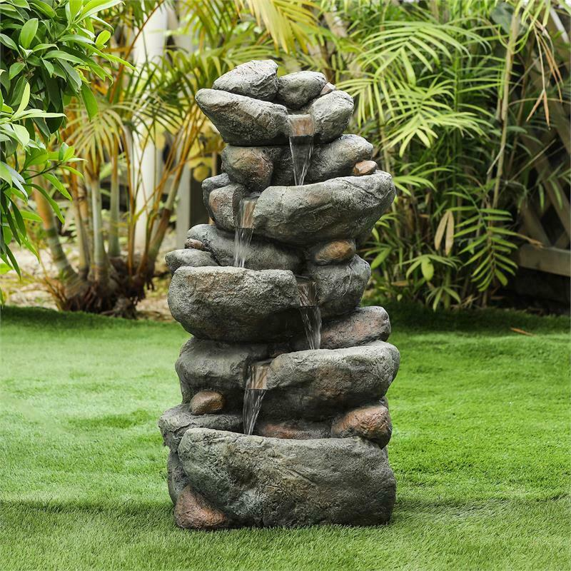 H Cascading Rock Outdoor Fountain