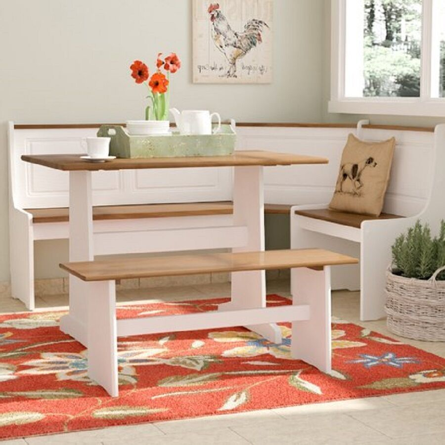 Details About Kitchen Corner Breakfast Nook White Booth Dinette Set Table Bench Country Dining