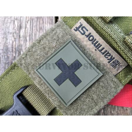 img-MEDIC FIRST AID KIT PVC PATCH 35mm - Green OD Trauma Pouch Morale Tactical Badge