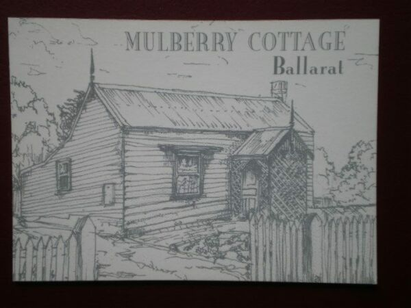 POSTCARD OCEANIA AUSTRALASIA BALLARAT - MULBERRY COTTAGE PENCIL SKETCH