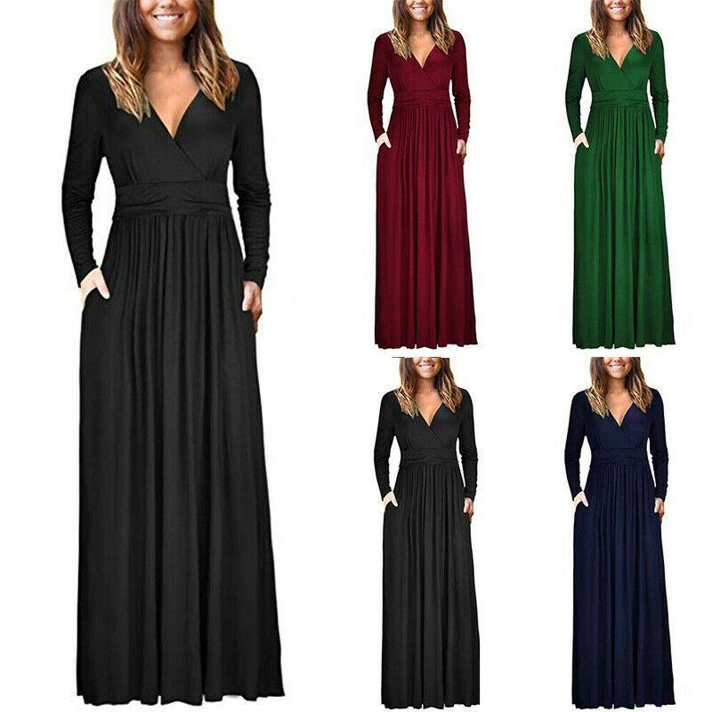 30e87a03eec Details about UK Womens Wrap V-neck Long Sleeve Jersey Maxi Dress Ladies  Cocktail Party Dress