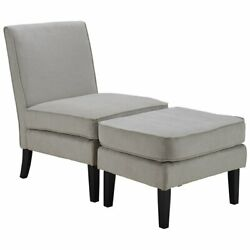 Elle Decor Olivia Accent Chair and Ottoman in French Gray