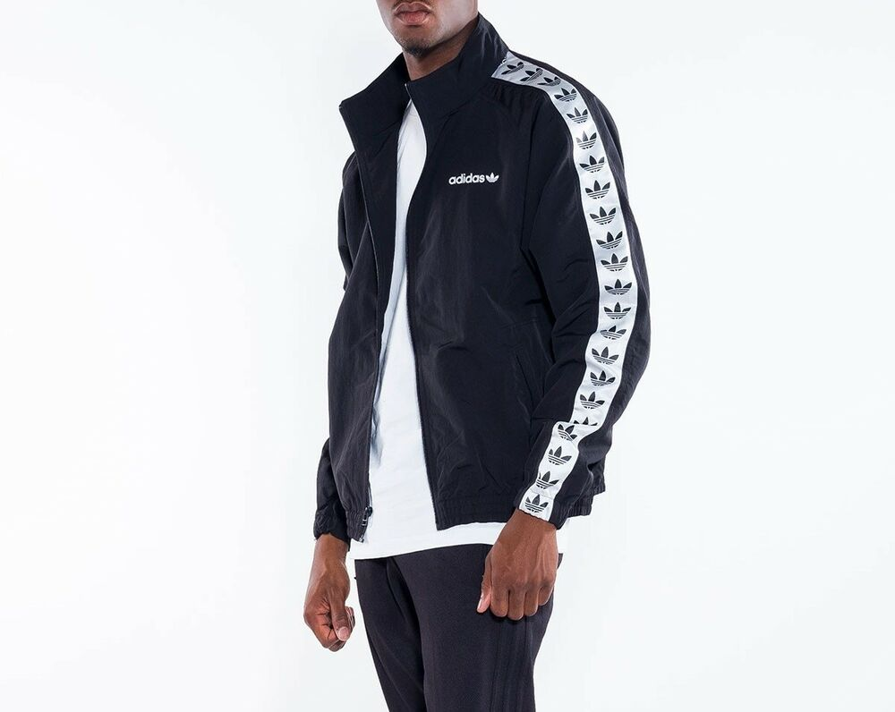 f2983156794 Details about ADIDAS ORIGINALS NEW BLACK WHITE TNT TAPE TREFOIL WINDBREAKER TRACK  TOP JACKET