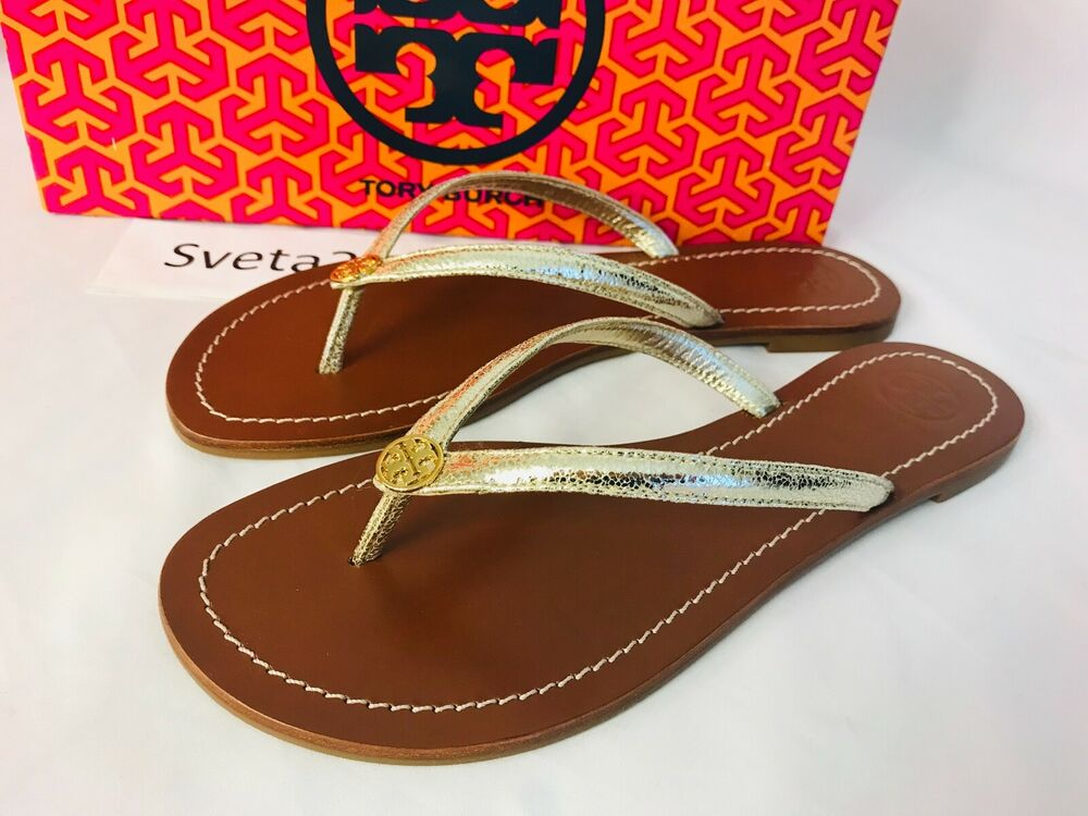 fc0237e44fc Details about Tory Burch NIB Terra Thong Flat Sandals Tumbled Leather Logo   56210 Spark Gold