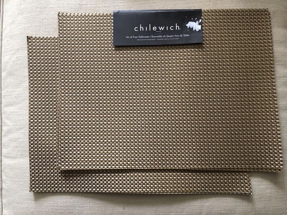 New Chilewich Placemats Set Of Four Basket Weave Gold Rectangle | EBay