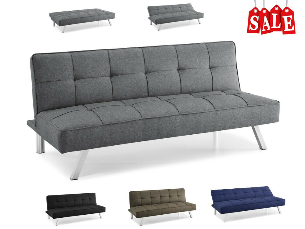 Details About Modern Loveseat Futon Sofa Bed Sleeper Convertible Recliner Tufted Lounger Twin