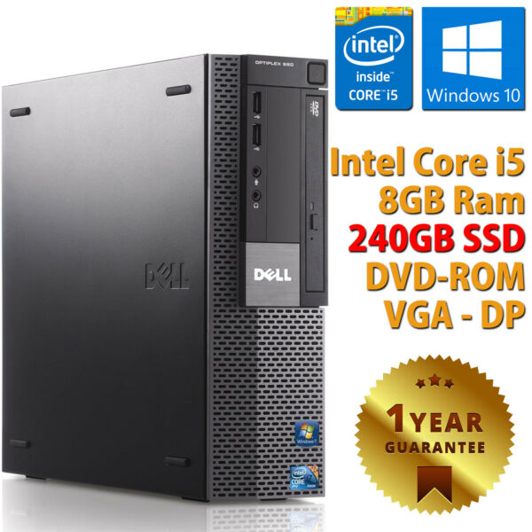 Ordinateur PC Bureau Fixe Dell Remis à Neuf Quad Core I5 8gb SSD 240gb Win10