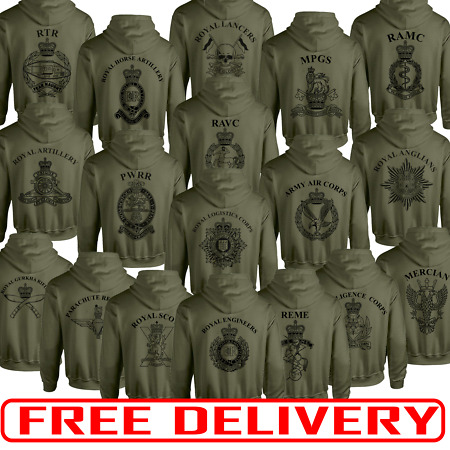 img-Double Sided Printed Army Olive Green hoodie HM RTR Para REME RGR RAMC RE PWRR