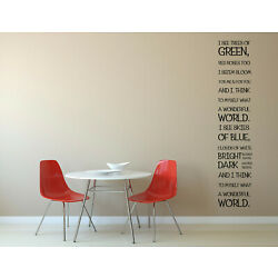 What A Wonderful World Louis Armstrong Song I See Trees of Green Quote Vinyl Wal
