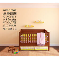 Proverbs 31:25 SHE is Clothed in Strength Vinyl Wall Art Decal Words Lettering