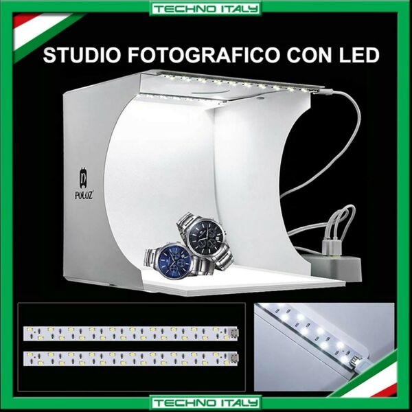 STUDIO SET FOTOGRAFICO PORTATILE PIEGHEVOLE LIGHT BOX CON ILLUMIN. LED 6 SFONDI