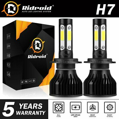 Pair 4-sides H7 CREE LED Headlight bulb 2400W 6000K 360000LM Replacement Bulb JO