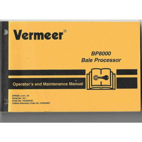 original-oem-vermeer-model-bp8000-bale-processor-operators-maintenance-manual