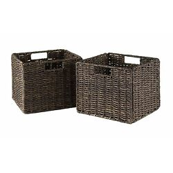 Winsome Granville Foldable 2-pc Small Corn Husk Baskets, Chocolate 38211 NEW