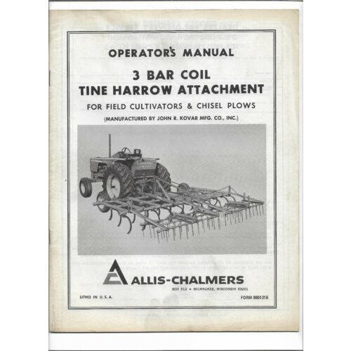 original-oem-allis-chalmers-3-bar-coil-tine-harrow-attachment-operators-manual