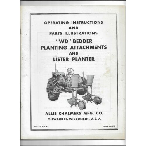 original-allis-chalmers-wd-bedder-planting-attachments-planter-operators-manual