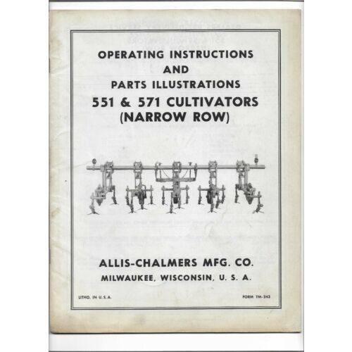 original-oem-allis-chalmers-551-571-narrow-row-cultivator-operators-parts-manual
