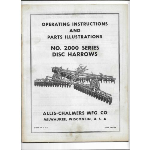 original-allis-chalmers-2000-disc-harrows-operators-parts-illustrations-manual