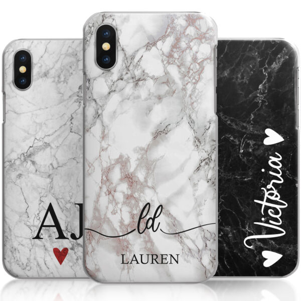 Personalised Phone Case, Heart Grey Marble Hard Cover, Custom Initials/Text/Name