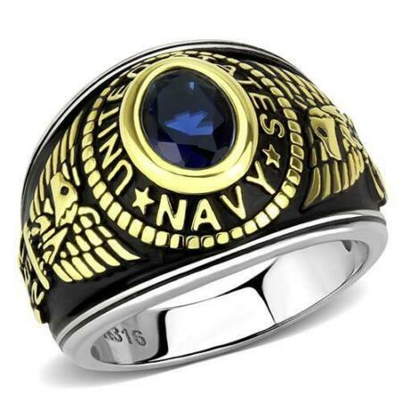 img-Mens Navy ring stainless steel usa sapphire 18kt gold blackened military 726