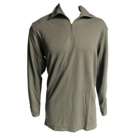 img-FRENCH ARMY SURPLUS ISSUE GREEN ZIP NECK 100% COTTON T-SHIRT LONG SLEEVE NORGIE