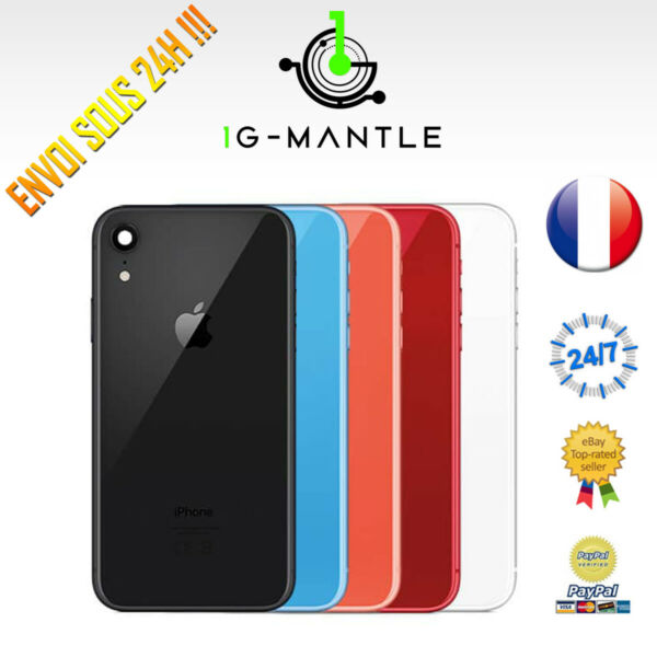 CHASSIS ARRIERE + BOUTON PRE-MONTE IPHONE XR CACHE BATTERIE