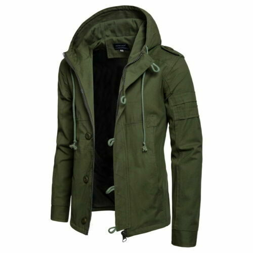 Mens Jackets Coats Camouflage Casual Zipper Hooded Warm Outwear For Winter